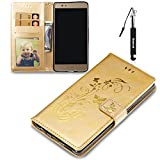 Huawei P9 Plus Hülle, Huawei P9 Plus Tasche, Huphant Flip Case [Imprinted Butterfly with Stamping Effect Serie]PU Leather Case Wallet Book Case Schutzhülle Huawei P9 Plus (5,5 Zoll) - Gold