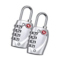 [2 Packs] 4-Digit Combination Padlock Number Code TSA Locks for Suitcases, Luggage, File Boxes, School Gym Lockers, File Cabinets, Toolbox Fence Hasp Cabinet, Anti Rust Weatherproof (Silver)
