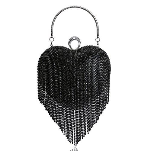 Ms. tassel bag borsa da cerimonia per banchetti a forma di cuore borsa di lusso con strass decorazione clutch borsa a tracolla per borse da donna,black-17 * 8 * 22cm