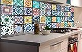 Azulejos, pellicola autoadesiva per la parete della cucina, 180x 60cm. Pellicola decorativa, paraschizzi per la cucina. Di altissima qualità
