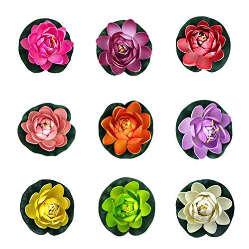 9 piezas loto flotante 11cm flor lirio agua simulación