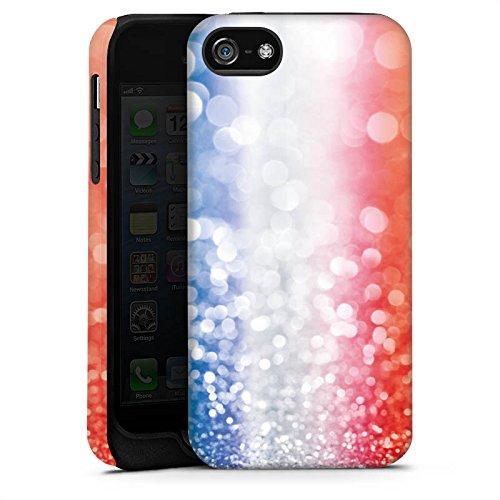 Apple iPhone 5s Housse Outdoor Étui militaire Coque France Paillettes Drapeau Cas Tough terne