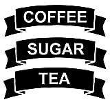 CRibbon Set Kaffee/Tee/Zucker Vinyl Aufkleber/Etiketten für vorratsbehälter kanister - Schwarz