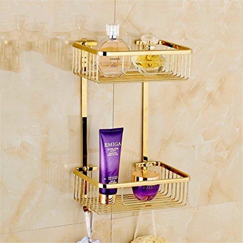 RFF-WC- / Badzubehör eingestellt Badausstattung Sets Badezimmer-Zubehör Sanitär Badinstallationen Lagersysteme Kupfer Gold SquareSingleDoppelbar Toilettenpapierhalter Toilettenbürste, BasketB2