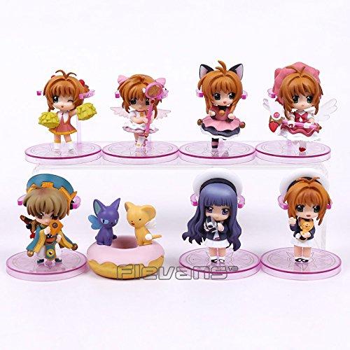 SAKURA Cardcaptor Set 8 Figuren 5-7 cm Kimono Daidouji Tomoyo Li Syaoran Kero -