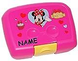 Unbekannt Brotdose / Lunchbox -  Disney Minnie Mouse  - Incl. Name - Brotbüchse - Küche Essen für Mädchen - Vesperdose - Playhouse / Maus Mäuse - Rosa - Kinder