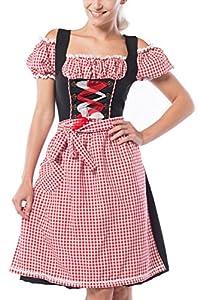 Partychimp 2679708 Mujer tirolesa Midi Anne de Ruth con una blusa y delantal, Rojo/Negro, 38