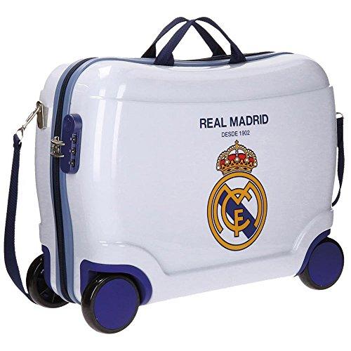 Real Madrid Classic Equipaje Infantil, 50 cm, 34 Litros, Blanco