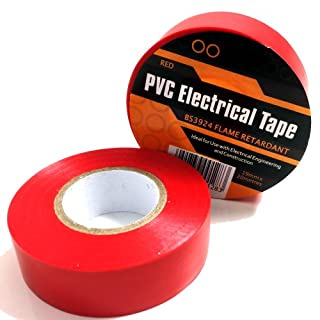 1 x RED ELECTRICAL PVC INSULATION / INSULATING TAPE 19mm x 20m - FLAME RETARDANT