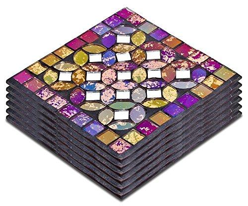 Multicoloured mosaic glass coasters set of 6