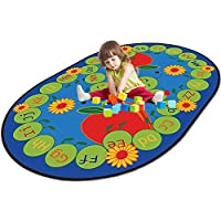 WERUGS ABC Ladybird Sunflower Alphabet Kids Area Rugs, Non-Slip Vibrant Oval Child Large Carpet, for Kids Bedroom Playroom Kids Classroom