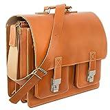 Große Aktentasche/Lehrertasche Größe XL aus Leder, für Damen und Herren, Cognac-Braun, Hamosons 690