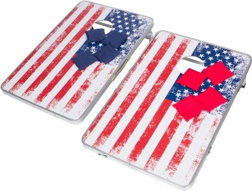 Trademark Innovations 3'mais Loch & Bean Bag Toss-Set-leicht und tragbar Aluminium-(American Flagge, ohne Fall) (Bag Bean Boards Toss)