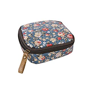 Albeey waterproof sanitary napkin cosmetic storage bag purse with zipper (floral)
