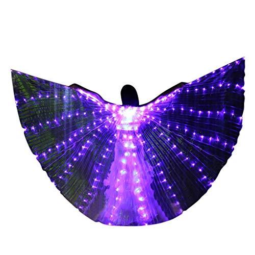 Kostüm Engel Tanz - Chejarity Isis Flügel Glitzer Bauchtanz LED Wings Schmetterling Engelsflügel Tanz Zubehör Requisiten Bühnenperformance Kleidung Festival Halloween Cosplay Party Maskerade Kostüm (One Size, Lila)