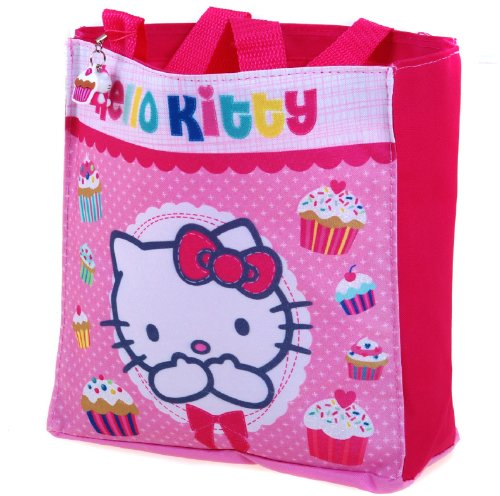 Hello Kitty - Cupcake Shopping School Bag with Super Cute Hello Kitty and Cupcake Dangler Press Stud Fastening and Inside Compartment - Shopper -
