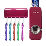 #2: House of Quirk 2 in 1 Automatic Toothpaste Dispenser and Tooth Brush Holder Set Automatic Toothpaste Dispenser and Tooth Brush Holder Set Hands Free Toothpaste Dispenser Automatic Toothpaste Squeezer and Toilet Brush/Toothbrush Holder Set Automatic Toothpaste Dispenser and Detachable 5 Hole Toothbrush Holder Dust-Proof Wall Mounted with Cover Bathroom Storage Stand Toothpaste Dispenser Squeezer Kit Tooth Brush Holder Set Automatic Auto Toothpaste Dispenser (Wine) (Brushes Not Included)