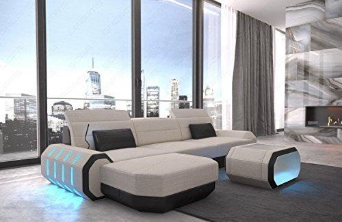 Sofa Dreams Tissu Canapé Tissu Canapé capitonnée Canapé Roma en Forme Cuir Tissu Mélange avec éclairage LED