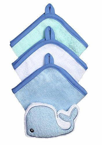 Baby-Waschlappen mit Schwamm - Set 3-teilig aud Velour 100% Baumwolle 7311 (Blau / Wal)
