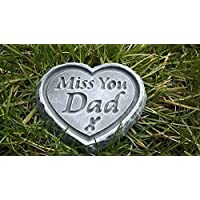Miss You Dad ENGRAVED STONE Heart Memorial Graveside Garden Plaque