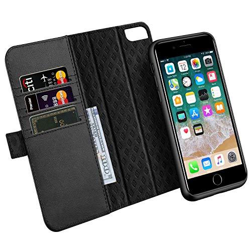 ZOVER Coque iPhone 8/7, Étui en Cuir iPhone 6S / 6 Détachable Housse Portefeuille en Cuir Véritable Support magnétique de Voiture, avec Fentes de Cartes Fonction Stand - Noir