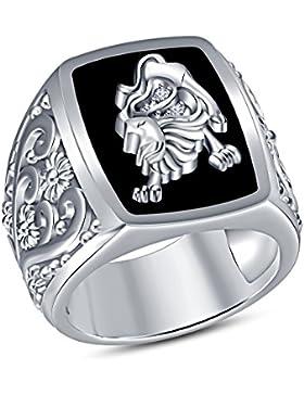 Vorra Fashion Ansprechende Runde CZ 925Sterling Silber Astrologie Leo Sternzeichen Herren Ring