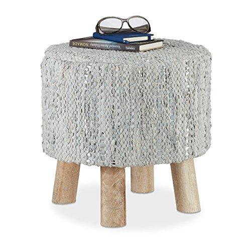 Relaxdays - Taburete redondo tapizado vintage con acolchado de piel, 4 patas de madera, puff moderno, tela, gris, 41 x 41 x 41 cm, tela, Gris, 41 x 41 x 41 cm