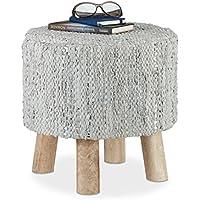 Relaxdays Hocker Grau und Metallic, runder Sitzhocker mit Echtleder-Polster und Mangoholzbeinen, Fußhocker HxD 41x41 cm preisvergleich bei kinderzimmerdekopreise.eu