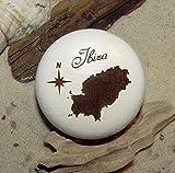 Möbelknauf Ibiza Balearen Möbelknopf Buche weiß lackiert Gravur Holz
