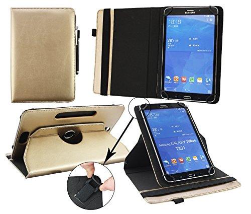 Emartbuy® Samsung Galaxy Tab S2 8.0 Zoll Wi-Fi SM-T719 Tablet Universal (7-8 Zoll) Metallic Gold PU Leder 360GradrotierendeStandFolioGeldbörseTascheHülle + Schwarz Eingabestift -