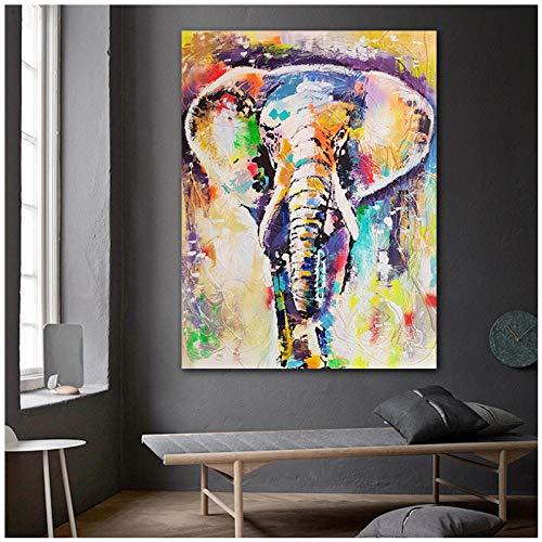 qiaoaoa Wandkunst Malerei Abstrakte Tiere Öl Drucke Bunte Elefanten Poster Wandkunst Leinwand Malerei für Wohnzimmer Dekor 50x70 cm Kein Rahmen -