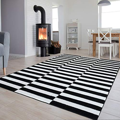 Schwarz Und Weiß Moderne Teppich (Tapiso Luxury Teppich Kurzflor Schwarz Weiss Modern Designer Geometrisch Streifen Linien Muster Wohnzimmer Jugendzimmer ÖKOTEX 140 x 200 cm)