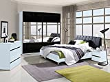 Schlafzimmer Komplett - Set B Volos, 5-teilig, Farbe: Weiß / Schwarz Hochglanz