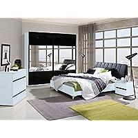 Schlafzimmer Komplett   Set A Volos, 5 Teilig, Farbe: Weiß / Schwarz