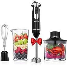 Aicok Batidora de mano 800W, Velocidad Ajustable para mezclar Smoothies, Sopa, Huevos, Incluye vaso Batidora de mano de 800ml y  Minipimer de 500 ml, Material Libre de BPA
