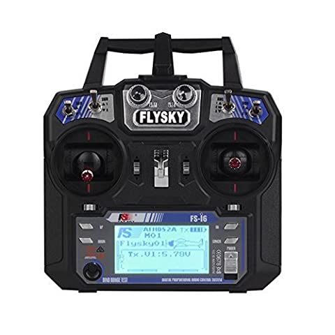 FlySky FS-i6 2.4G 6CH AFHDS RC Transmitter with FS-iA6 Receiver for Airplane plastic black, by LC