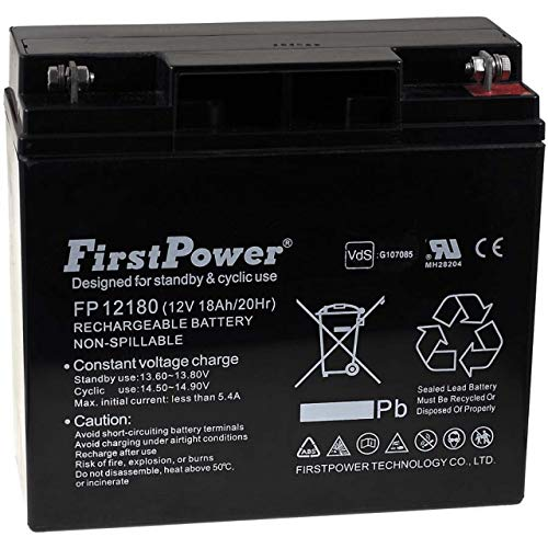 FirstPower Blei-Gel Akku FP12180 12V 18Ah VDs, 12V, Lead-Acid