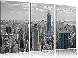 New Yorker Skyline mit Empire State Building schwarz/weiß 3-Teiler Leinwandbild 120x80 Bild auf Leinwand, XXL riesige Bilder fertig gerahmt mit Keilrahmen, Kunstdruck auf Wandbild mit Rahmen, gänstiger als Gemälde oder Ölbild, kein Poster oder Plakat