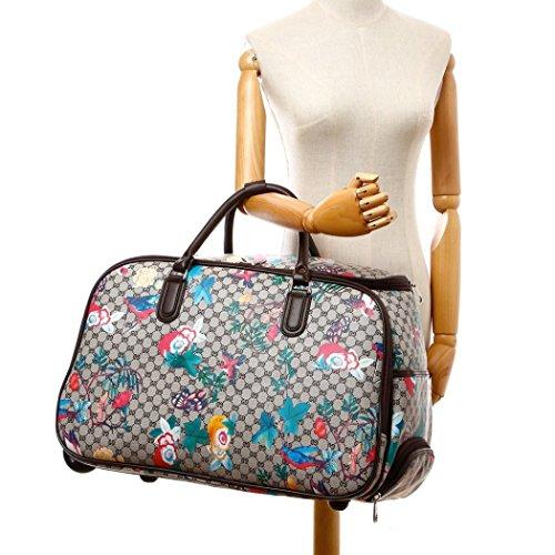 LeahWard Frauen Girl's Holdall Faux Leder Gepäck Tasche Hand Gepäck Reise Koffer Urlaub Taschen CW01 (S Schwarz Eule) S Beige Vogel und Schmetterling Blume