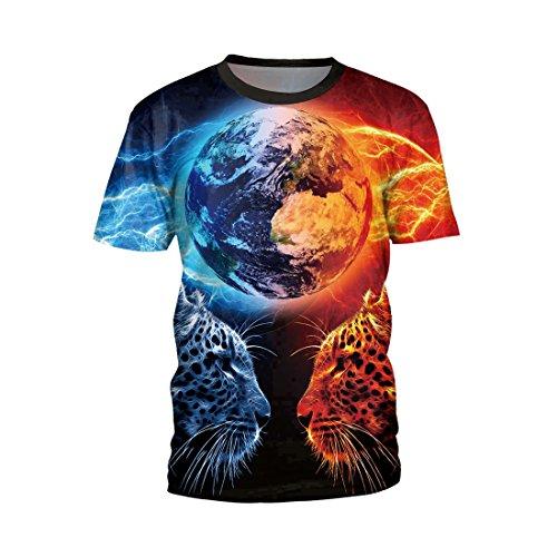 Jiayiqi Männer Erde Leopard Drucken Rundhalsausschnitt T-Shirt Tops Paar Shirts XL