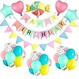 Yansion Buon Compleanno Decorazione Palloncino, 38 Pezzi per Feste con Foil Pentagramma e Palloncino per Compleanno, Matrimonio, Baby Shower, Decorazioni per Feste