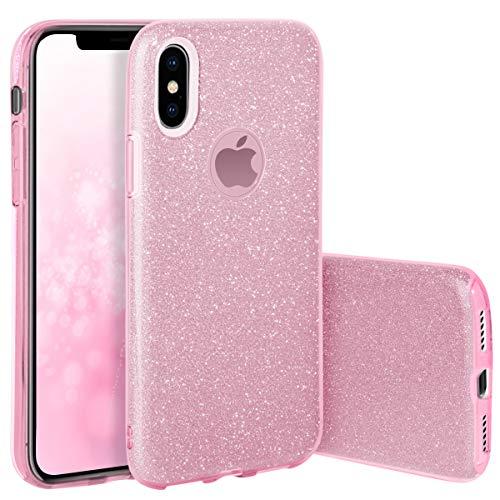 QULT Handyhülle kompatibel mit iPhone XS iPhone X Hülle Glitzer Rosa glänzend TPU Tasche iPhone 10 iPhone XS Case Silikon Bumper mit Glitter Design Sparkles Pink (EINWEG)