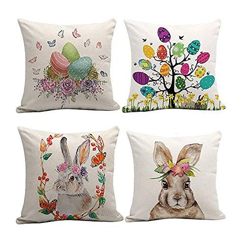 Gongting Kissenbezüge für Ostern, 45,7 x 45,7 cm, Hase, Ei, Bauernhof, Dekoration, für Zuhause, Sofa, 4 Stück 01