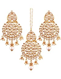 I Jewels Gold Plated Kundan & Pearl Earring Set With Maang Tikka For Women (TE2460W)