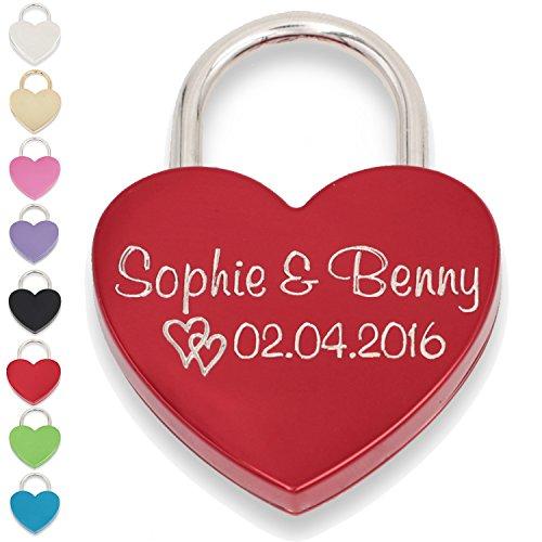 Liebesschloss Herzschloss rot mit Gravur und Schlüssel GRATIS Geschenkschachtel (Vorderseite, rot)