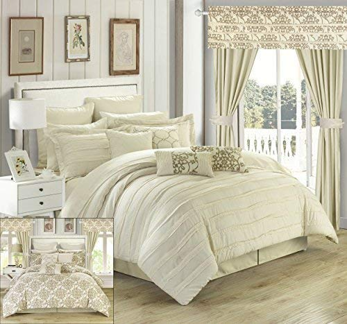Chic Home 24Stück Hailee komplett Plissee Rüschen und beidseitig Bedruckt Bett in Einem Beutel Tröster Set mit Fenster Behandlung, Queen, beige (24 Stück Tröster Set)