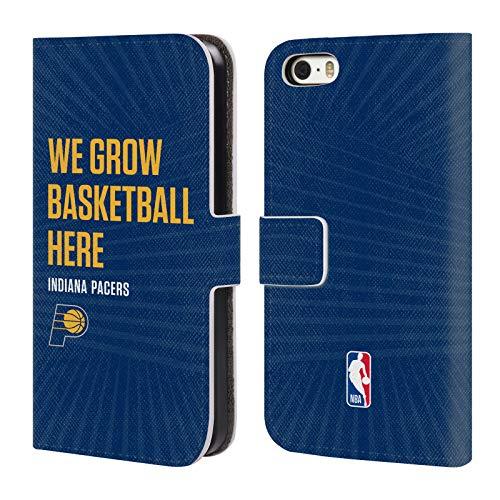Head Case Designs Offizielle NBA Pacers We Grow Basketball Here 2018/19 Team Slogan 2 Brieftasche Handyhülle aus Leder für iPhone 5 iPhone 5s iPhone SE - Nba-team Iphone