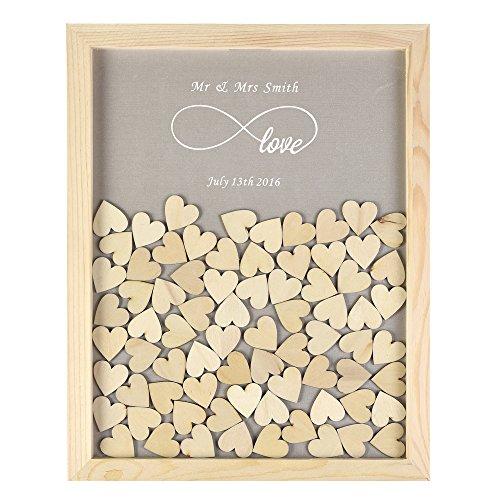 ys2016 Cadre en bois gravée personnalisée Infinity love style rustique Drop Top Livre d'or de Mariage 30 Cm x38 Cm