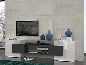 Dublino mobile porta tv madia. Bianco vetro e finitura pietra. Dimensioni L 241,6 x P 35 x H 62 by Web Convenienza