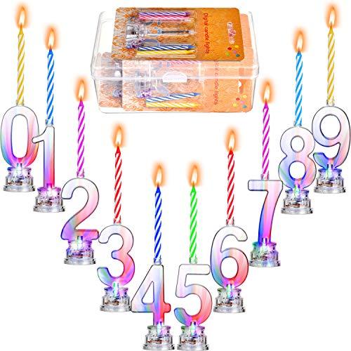 Juego de 10 Piezas de Velas LED Velas de Cumpleaños Intermitentes y 40 Piezas de Velas de Cera para Fiesta de Cumpleaños (Número 0-9)